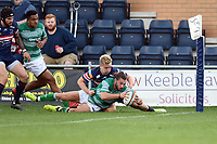 Tom Arscott of Newcastle Falcons scores a try late in the game. Pre-season friendly match, between Doncaster Knights and Newcastle Falcons on August 25, 2018 at Castle Park in Doncaster, England. Photo by: Patrick Khachfe / Onside Images