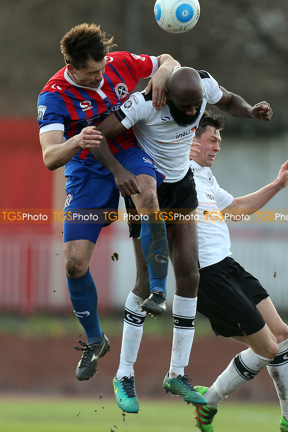 Jamal Fyfield of Gateshead and Craig Robson of Dagenham during Gateshead vs Dagenham & Redbridge, Vanarama National League Football at the Gateshead International Stadium on 4th March 2017