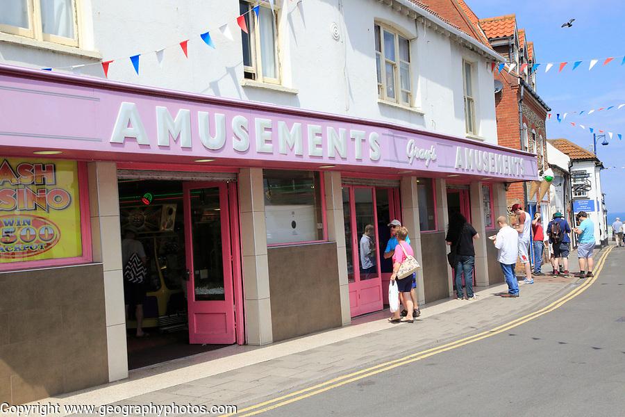 Amusements arcade at Sheringham, Norfolk, England, UK