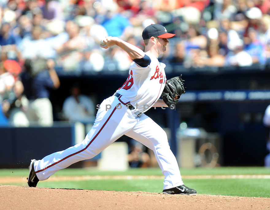 CRAIG KIMBREL, of the Atlanta Braves in action during the Braves game against the St. Louis Cardinals on April 30, 2011 at Turner Field in Atlanta, Georgia. The Cardinals beat the Braves 3-2.
