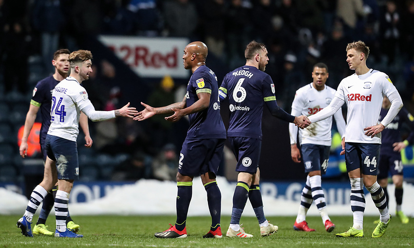 Players from both teams shake hands at the end of the match <br /> <br /> Photographer Andrew Kearns/CameraSport<br /> <br /> The EFL Sky Bet Championship - Preston North End v Derby County - Friday 1st February 2019 - Deepdale Stadium - Preston<br /> <br /> World Copyright © 2019 CameraSport. All rights reserved. 43 Linden Ave. Countesthorpe. Leicester. England. LE8 5PG - Tel: +44 (0) 116 277 4147 - admin@camerasport.com - www.camerasport.com