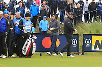 Shane Lowry (IRL) and Adrian Otaegui (ESP) on the 9th during the preview of the the 148th Open Championship, Portrush golf club, Portrush, Antrim, Northern Ireland. 17/07/2019.<br /> Picture Thos Caffrey / Golffile.ie<br /> <br /> All photo usage must carry mandatory copyright credit (© Golffile | Thos Caffrey)