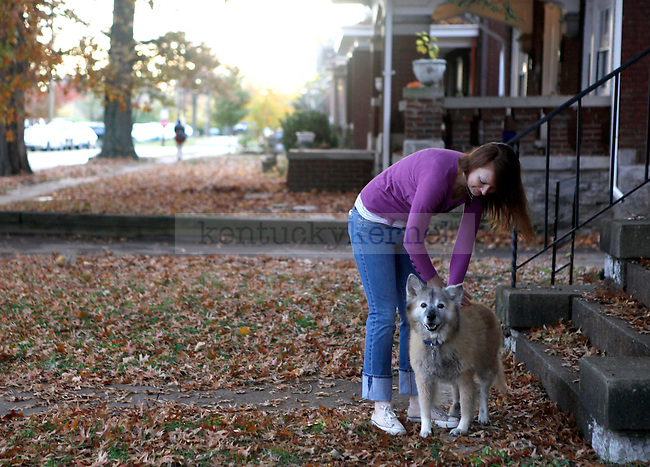 """Paris Howell, aka """"Ellie Slay,"""" pets her dog Hannah outside her home on Oct. 29, 2009..Photo by Zach Brake 