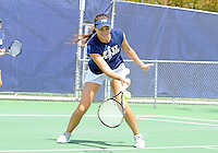 Florida International University tennis player Lisa Johnson plays against the University of Pennsylvania.  FIU won the match 4-3 on March 9, 2012 at Miami, Florida. .