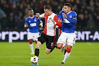 28th November 2019, Rotterdam, Netherlands; Europa League football, Feyenoord versus Glasgow Rangers;  Feyenoord player Sam Larsson and Rangers player James Tavernier - Editorial Use