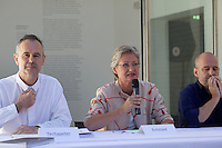 """13th Biennale of Architecture..Giardini..Austrian Pavillion..Wolfgang Tschapeller, Rens Veltman, Martin Perktold, """"hands have no tears to flow..."""", 2012..Press conference with from l.: Artist Wolfgang Tschapeller, Minister of Culture Claudia Schmied, Comissioner Arno Ritter."""