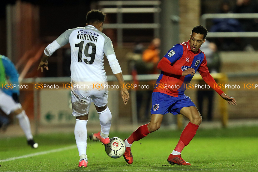 Josh Koroma of Leyton Orient and Corey Whitely of Dagenham during Dagenham & Redbridge vs Leyton Orient, Vanarama National League Football at the Chigwell Construction Stadium on 1st January 2018
