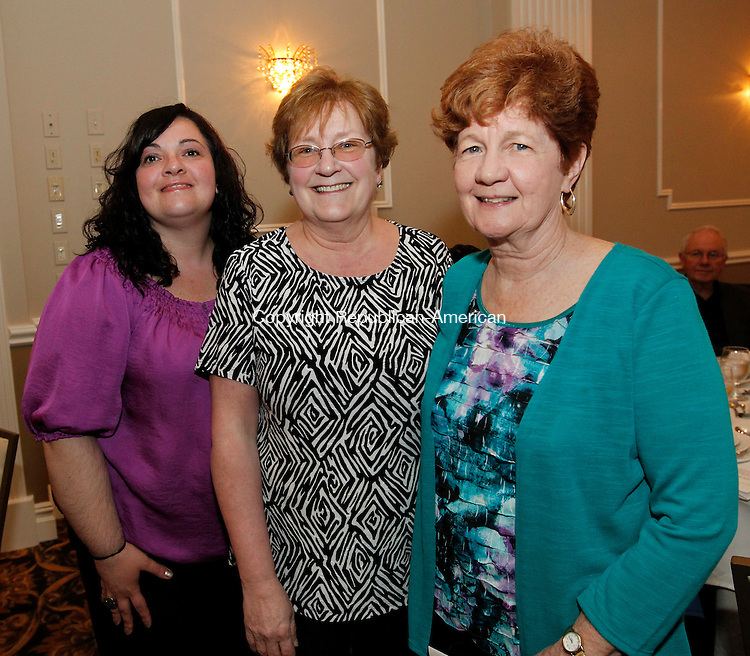 Waterbury, CT-17 April 2012-041712CM14-  SOCIAL MOMENTS:  L-R Sara Naber, Theresa Bolduc and Lorraine Collins, teachers from the  Children's Community School during the school's annual dinner at the La Bella Vista Tuesday night in Waterbury.  Christopher Massa Republican-American