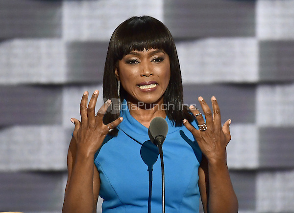 Actress Angela Bassett makes remarks during the third session of the 2016 Democratic National Convention at the Wells Fargo Center in Philadelphia, Pennsylvania on Wednesday, July 27, 2016.<br /> Credit: Ron Sachs / CNP/MediaPunch<br /> (RESTRICTION: NO New York or New Jersey Newspapers or newspapers within a 75 mile radius of New York City)