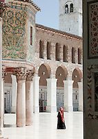 A woman admires the Dome of the Treasury in the Umayyad Mosque, the Great Mosque of Damascus, Damascus, Syria