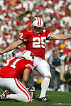 Madison, Wisconsin - 9/6/2003.  University of Wisconsin kicker Scott Campbell (29) during the University of Akron football game at Camp Randall. Davis rushed for 247 yards. Wisconsin beat Akron 48-31. (Photo by David Stluka).
