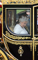 18 May 2016 - London England - Queen Elizabeth II on their way to Parliament for the State Opening of Parliament from The Queen Victoria Memorial in London. The State Opening of Parliament marks the formal start of the parliamentary year and the Queen's Speech sets out the government's agenda for the coming session. Photo Credit: ALPR/AdMedia
