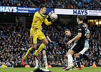 Burnley's Nick Pope gathers<br /> <br /> Photographer Rich Linley/CameraSport<br /> <br /> Emirates FA Cup Fourth Round - Manchester City v Burnley - Saturday 26th January 2019 - The Etihad - Manchester<br />  <br /> World Copyright © 2019 CameraSport. All rights reserved. 43 Linden Ave. Countesthorpe. Leicester. England. LE8 5PG - Tel: +44 (0) 116 277 4147 - admin@camerasport.com - www.camerasport.com