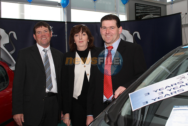 Mick Holcroft, Patricia Smith and Derek Holcroft from Holcroft Motors at the Drogheda Motor Show...(Photo credit should read Jenny Matthews www.newsfile.ie)....This Picture has been sent you under the condtions enclosed by:.Newsfile Ltd..The Studio,.Millmount Abbey,.Drogheda,.Co Meath..Ireland..Tel: +353(0)41-9871240.Fax: +353(0)41-9871260.GSM: +353(0)86-2500958.email: pictures@newsfile.ie.www.newsfile.ie.