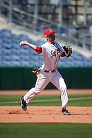 Ball State Cardinals Sean Kennedy (10) during practice before a game against the Louisville Cardinals on February 19, 2017 at Spectrum Field in Clearwater, Florida.  Louisville defeated Ball State 10-4.  (Mike Janes/Four Seam Images)
