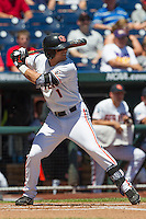 Oregon State shortstop Tyler Smith (1) at bat against the Louisville Cardinals during Game 5 of the 2013 Men's College World Series on June 17, 2013 at TD Ameritrade Park in Omaha, Nebraska. The Beavers defeated Cardinals 11-4, eliminating Louisville from the tournament. (Andrew Woolley/Four Seam Images)
