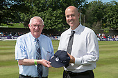 Cricket Scotland - Scotland V Zimbabwe One Day International match at Grange CC today (Thur) - this match is the second of two ODI matches this week against Zimbabwe, and Scotland won the first encounter, on Thursday, by 26 runs - Hall of Fame inductee Paul Hoffman, here presented with his commemorative cap by Cricket Scotland President Brice Dixon - picture by Donald MacLeod - 17.06.2017 - 07702 319 738 - clanmacleod@btinternet.com - www.donald-macleod.com