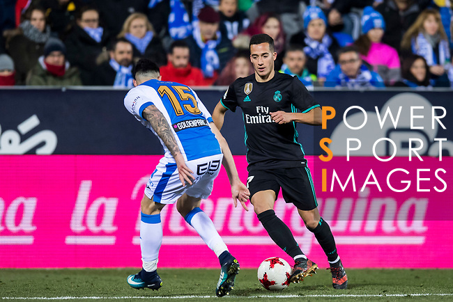 Lucas Vazquez (R) of Real Madrid is tackled by Diego Rico Salguero of CD Leganes during the Copa del Rey 2017-18 match between CD Leganes and Real Madrid at Estadio Municipal Butarque on 18 January 2018 in Leganes, Spain. Photo by Diego Gonzalez / Power Sport Images
