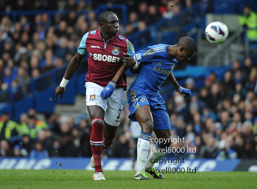 Remires of Chelsea and Mohamed Diame of West Ham in action during the Barclays Premiere League match between Chelsea and West Ham United at Stamford Bridge on Sunday March 17, 2013 in London, England Picture Zed Jameson/pixel 8000 ltd.