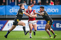 Picture by Alex Whitehead/SWpix.com - 12/03/2017 - Rugby League - Betfred Super League - Wakefield Trinity v Salford Red Devils - Beaumont Legal Stadium, Wakefield, England - Wakefield's Jacob Miller is tackled by Salford's Lee Mossop and Greg Johnson.