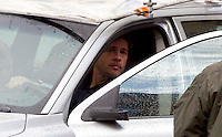 Glasgow, Scotland - Brad Pitt with his on set family in a car during a seen from the film World War Z..Picture: Maurice McDonald/Universal News And Sport (Scotland). 24 August 2011. www.unpixs.com..