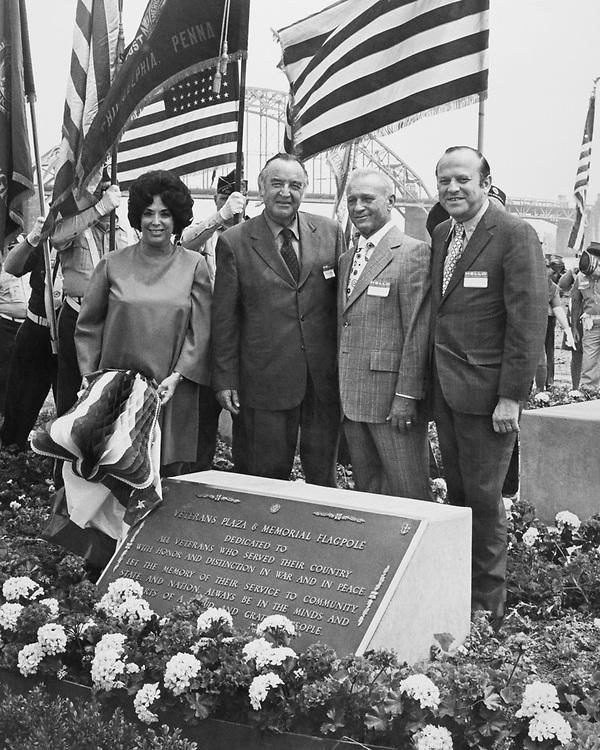 Rep. Joshua Eilberg, D-Pa. presents at the Veterans Plaza and Memorial Flagpole. 1975 (Photo by Dev O'Neill/CQ Roll Call)