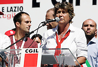 Il segretario generale della Cgil Susanna Camusso parla sul palco della manifestazione in occasione dello sciopero generale indetto contro la manovra economica del governo, a Roma, 6 settembre 2011..Italian CGIL main union secretary general Susanna Camusso speaks durinf a demonstration in occasion of the general strike against the government's proposed austerity package, in Rome, 6 september 2011..UPDATE IMAGES PRESS/Riccardo De Luca