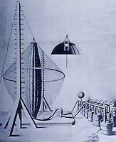 Technology:  Balloons--making hydrogen, 1790.  Iron filings +  dilute sulfuric acid are poured into the pails, down into casks. Pipes are of tin.  Reference only.