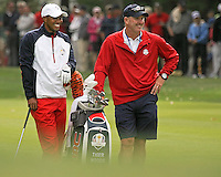 26 SEP 12  Tiger Woods and Joe LaCava during Wednesdays practice round at The 39th Ryder Cup at The Medinah Country Club in Medinah, Illinois.