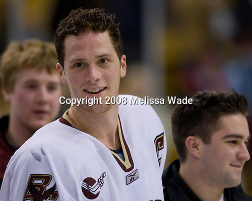 (Meenan) Mike Brennan (BC 4) (Murphy) - The Boston College Eagles defeated the Harvard University Crimson 6-5 in overtime on Monday, February 11, 2008, to win the 2008 Beanpot at the TD Banknorth Garden in Boston, Massachusetts.