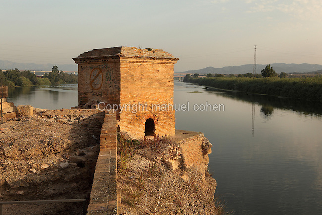 Corner watchtower on the Ebro river in the ruins of Amposta castle, a 10th century Moorish fortress, Amposta, Tarragona, Spain. Picture by Manuel Cohen