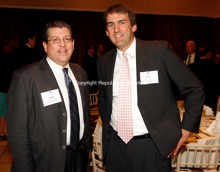 Southington, CT- 20, September 2011-092011CM11 SOCIAL MOMENTS: Baldrige Awards dinner, L-R: Ralph Richard, of the Savings Bank of Danbury and Atty. James Strub of Secor, Cassidy & McPartland, P.C. Christopher Massa Republican-American
