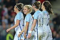 Isobel Christiansen (Manchester City) of England Women (2nd left) celebrates after she scores her team's third goal of the game to make the score 3-0 during the Women's Friendly match between England Women and Austria Women at stadium:mk, Milton Keynes, England on 10 April 2017. Photo by PRiME Media Images / David Horn.