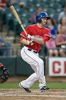 Designated Hitter Doug Deeds #21 of the Round Rock Express singles against the Oklahoma City RedHawks on April 26, 2011 at the Dell Diamond in Round Rock, Texas. (Photo by Andrew Woolley / Four Seam Images)