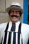 Butcher's shop lifesize model dummy, Cromer, Norfolk, England