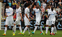 Leroy Fer of Swansea City celebrates his goal with team mates during the Premier League match between Swansea City and Chelsea at The Liberty Stadium on September 11, 2016 in Swansea, Wales.
