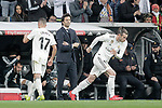Real Madrid CF's Gareth Bale, Lucas Vazquez (L) and coach Santiago Solari  during the King's Cup semifinals match. February 27,2019. (ALTERPHOTOS/Alconada)