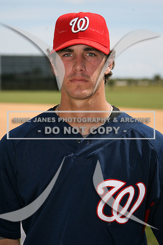 October 4, 2009:  Pitcher A.J. Morris of the Washington Nationals organization before an Instructional League game at Space Coast Stadium in Viera, FL.  Morris was selected in the 4th round of the 2009 draft.  Photo by:  Mike Janes/Four Seam Images