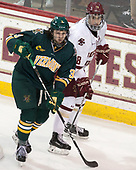 Mike Lee (UVM - 3), Colin White (BC - 18) - The visiting University of Vermont Catamounts tied the Boston College Eagles 2-2 on Saturday, February 18, 2017, Boston College's senior night at Kelley Rink in Conte Forum in Chestnut Hill, Massachusetts.Vermont and BC tied 2-2 on Saturday, February 18, 2017, Boston College's senior night at Kelley Rink in Conte Forum in Chestnut Hill, Massachusetts.
