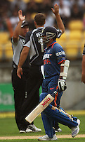 Sachin Tendulkar walks from the crease after being dismissed lbw by Daniel Vettori during the 2nd ODI cricket match between the New Zealand Black Caps and India at Westpac Stadium, Wellington, New Zealand on Friday, 6 March 2009. Photo: Dave Lintott / lintottphoto.co.nz