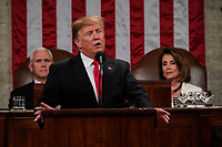 FEBRUARY 5, 2019 - WASHINGTON, DC: President Donald Trump delivered the State of the Union address, with Vice President Mike Pence and Speaker of the House Nancy Pelosi, at the Capitol in Washington, DC on February 5, 2019. Photo Credit: Doug Mills/CNP/AdMedia