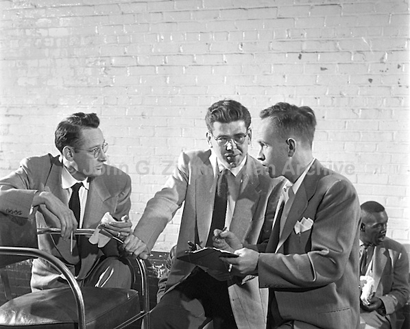 Shoeshine contest Judges (L to R): Alec Flowers, Dr. W. G. Spencer and Charles Fleming. WIlson North Carolina, 1952. Photo by John G. Zimmerman.