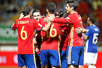 Spain's Marco players celebrate goal during FIFA World Cup 2018 Qualifying Round match. September 5,2016.(ALTERPHOTOS/Acero)