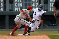 14 August 08: DBacks 2nd baseman Chris Burke loses control of the ball attempting to apply a tag to Willy Taveras, who stole his 53rd base of the year. The steal tied the Rockies club record for most stolen bases in one season. The Arizona Diamondbacks defeated the Colorado Rockies 6-2 at Coors Field in Denver, Colorado. FOR EDITORIAL USE ONLY. FOR EDITORIAL USE ONLY