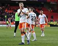 Blackpool's Nick Anderton applauds the fans at the final whistle <br /> <br /> Photographer David Shipman/CameraSport<br /> <br /> The EFL Sky Bet League One - Charlton Athletic v Blackpool - Saturday 16th February 2019 - The Valley - London<br /> <br /> World Copyright © 2019 CameraSport. All rights reserved. 43 Linden Ave. Countesthorpe. Leicester. England. LE8 5PG - Tel: +44 (0) 116 277 4147 - admin@camerasport.com - www.camerasport.com