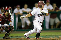 South Carolina's Brady Thomas drives in the winning run during Game 10 of the NCAA Division One Men's College World Series on June 24th, 2010 at Johnny Rosenblatt Stadium in Omaha, Nebraska.  (Photo by Andrew Woolley / Four Seam Images)