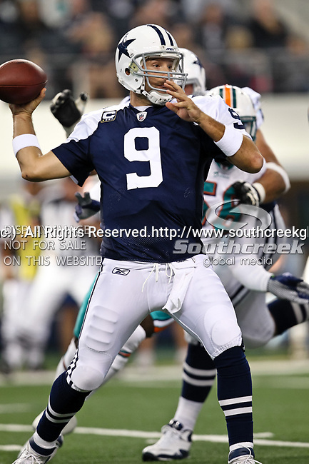 Dallas Cowboys quarterback Tony Romo (9) in action during the Thanksgiving Day game between the Miami Dolphins and the Dallas Cowboys at the Cowboys Stadium in Arlington, Texas. Dallas defeats Miami 20 to 19...