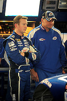 Oct. 15, 2009; Concord, NC, USA; NASCAR Sprint Cup Series driver Kurt Busch (left) with crew chief Pat Tryson during practice for the Banking 500 at Lowes Motor Speedway. Mandatory Credit: Mark J. Rebilas-