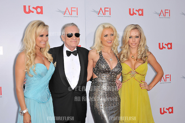 Hugh Hefner with Holly Madison (left), Bridget Marquardt & Kendra Wilkinson at the AFI Life Achievement Award gala honoring Warren Beatty at the Kodak Theatre, Hollywood..June 12, 2008  Los Angeles, CA.Picture: Paul Smith / Featureflash
