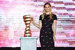 Bar Rafaeli with the Trofeo Senza Fine on stage at the Team Presentation before the 101st edition of the Giro d'Italia 2018. Jerusalem, Israel. 3rd May 2018.<br /> Picture: LaPresse/Fabio Ferrari | Cyclefile<br /> <br /> <br /> All photos usage must carry mandatory copyright credit (&copy; Cyclefile | LaPresse/Fabio Ferrari)
